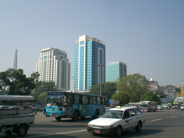 Burma, maybe not what you'd expect: Skyscrapers in Yangon.