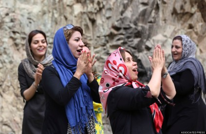 Mideast Iran Laughter Yoga