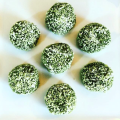 Raw food balls with matcha tea